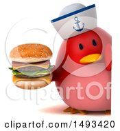 Clipart Of A 3d Red Bird Sailor Holding A Burger On A White Background Royalty Free Illustration