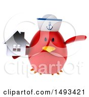 Clipart Of A 3d Red Bird Sailor Holding A House On A White Background Royalty Free Illustration