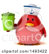 Clipart Of A 3d Red Bird Sailor Holding A Recycle Bin On A White Background Royalty Free Illustration