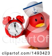 Clipart Of A 3d Red Bird Sailor Holding An Alarm Clock On A White Background Royalty Free Illustration