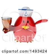 Clipart Of A 3d Red Bird Sailor Holding A Beer On A White Background Royalty Free Illustration