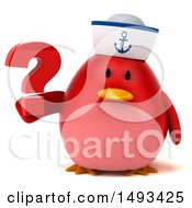 Clipart Of A 3d Red Bird Sailor Holding A Question Mark On A White Background Royalty Free Illustration