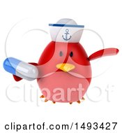 Clipart Of A 3d Red Bird Sailor Holding A Pill On A White Background Royalty Free Illustration