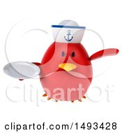 Clipart Of A 3d Red Bird Sailor Holding A Plate On A White Background Royalty Free Illustration