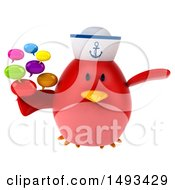 Clipart Of A 3d Red Bird Sailor Holding Speech Bubbles On A White Background Royalty Free Illustration