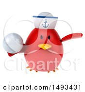 Clipart Of A 3d Red Bird Sailor Holding A Golf Ball On A White Background Royalty Free Illustration