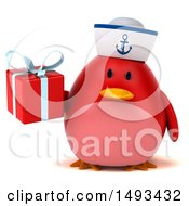 Clipart Of A 3d Red Bird Sailor Holding A Gift On A White Background Royalty Free Illustration