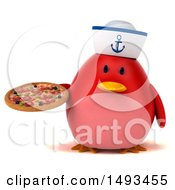 Clipart Of A 3d Chubby Red Bird Sailor Holding A Pizza On A White Background Royalty Free Illustration