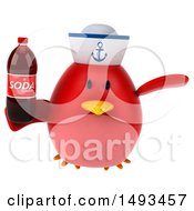 Clipart Of A 3d Chubby Red Bird Sailor Holding A Soda On A White Background Royalty Free Illustration