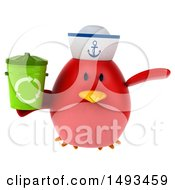 Clipart Of A 3d Chubby Red Bird Sailor Holding A Recycle Bin On A White Background Royalty Free Illustration