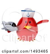 Clipart Of A 3d Chubby Red Bird Sailor Holding A Plane On A White Background Royalty Free Illustration