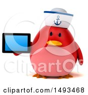Clipart Of A 3d Chubby Red Bird Sailor Holding A Tablet Computer On A White Background Royalty Free Illustration