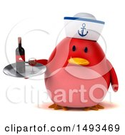 Clipart Of A 3d Chubby Red Bird Sailor Holding A Wine Tray On A White Background Royalty Free Illustration