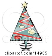 Poster, Art Print Of Triangular Christmas Tree With Ornaments And A Star On Top Retro
