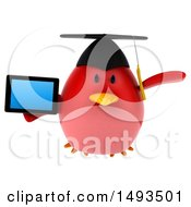 Clipart Of A 3d Chubby Red Bird Graduate On A White Background Royalty Free Illustration