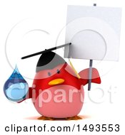 Clipart Of A 3d Red Bird Graduate Holding A Water Drop On A White Background Royalty Free Illustration