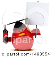 Clipart Of A 3d Red Bird Graduate Holding A Wine Bottle On A White Background Royalty Free Illustration