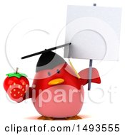 Clipart Of A 3d Red Bird Graduate Holding A Strawberry On A White Background Royalty Free Illustration