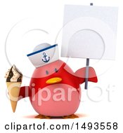 Clipart Of A 3d Red Bird Sailor Holding An Ice Cream Cone On A White Background Royalty Free Illustration