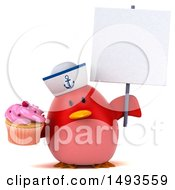 Clipart Of A 3d Red Bird Sailor Holding A Cupcake On A White Background Royalty Free Illustration