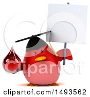 Clipart Of A 3d Chubby Red Bird Graduate Holding A Blood Drop On A White Background Royalty Free Illustration