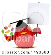 Clipart Of A 3d Chubby Red Bird Graduate Holding Produce On A White Background Royalty Free Illustration