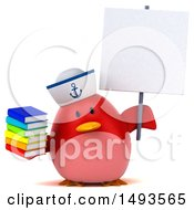Clipart Of A 3d Chubby Red Bird Sailor Holding Books On A White Background Royalty Free Illustration