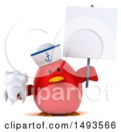 Clipart Of A 3d Chubby Red Bird Sailor Holding A Tooth On A White Background Royalty Free Illustration