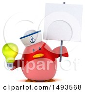 Clipart Of A 3d Chubby Red Bird Sailor Holding A Light Bulb On A White Background Royalty Free Illustration