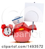 Clipart Of A 3d Chubby Red Bird Sailor On A White Background Royalty Free Illustration