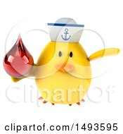 Clipart Of A 3d Yellow Bird Sailor Holding A Blood Drop On A White Background Royalty Free Illustration