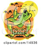 Werewolf Howling At The Moon As Vampire Bats Fly Above Clipart Illustration