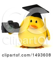 Clipart Of A 3d Chubby Yellow Bird Graduate Holding A Camera On A White Background Royalty Free Illustration
