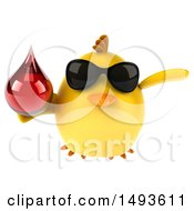 Clipart Of A 3d Chubby Yellow Bird Holding A Blood Drop On A White Background Royalty Free Illustration
