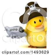 Clipart Of A 3d Chubby Yellow Bird Pirate Holding A Plane On A White Background Royalty Free Illustration