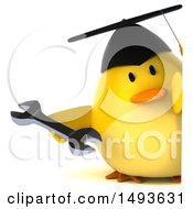 Clipart Of A 3d Chubby Yellow Bird Graduate Holding A Wrench On A White Background Royalty Free Illustration