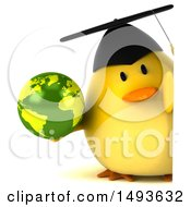 Clipart Of A 3d Chubby Yellow Bird Graduate Holding A Globe On A White Background Royalty Free Illustration