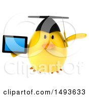 Clipart Of A 3d Chubby Yellow Bird Graduate Holding A Tablet Computer On A White Background Royalty Free Illustration