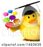 Clipart Of A 3d Chubby Yellow Bird Graduate Holding Messages On A White Background Royalty Free Illustration