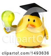 Clipart Of A 3d Chubby Yellow Bird Graduate Holding A Light Bulb On A White Background Royalty Free Illustration