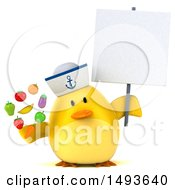 Clipart Of A 3d Yellow Bird Sailor Holding Produce On A White Background Royalty Free Illustration