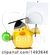 Clipart Of A 3d Chubby Yellow Bird Graduate Holding A Green Apple On A White Background Royalty Free Illustration