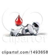 Clipart Of A 3d White And Blue Robot Holding A Blood Drop On A White Background Royalty Free Illustration