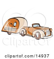Poster, Art Print Of Orange Convertible Car Pulling A Trailer