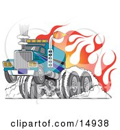 Tough Big Rig Hot Rod Truck Flaming And Smoking Its Rear Tires Doing A Burnout In Flames And A Wheelie Clipart Illustration