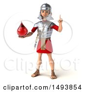 Clipart Of A 3d Young Male Roman Legionary Soldier Holding A Blood Drop On A White Background Royalty Free Illustration