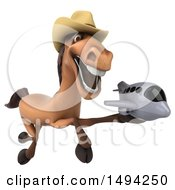 Clipart Of A 3d Brown Cowboy Horse On A White Background Royalty Free Illustration