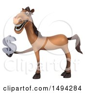 Poster, Art Print Of 3d Brown Horse On A White Background