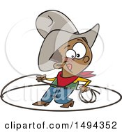 Clipart Of A Cartoon African American Cowboy Roping Royalty Free Vector Illustration