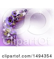 Purple Flower Star And Bauble Christmas Background